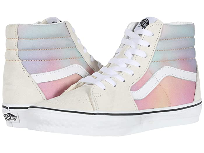 Vintage Sneakers, Retro Designs for Women Vans SK8-Hitm Aura Shift MultiTrue White Skate Shoes $50.50 AT vintagedancer.com