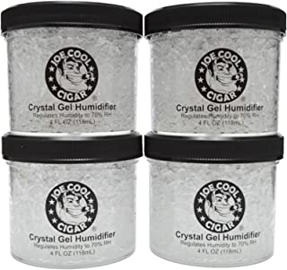 Joe Cool Cigar Crystal Gel Humidifier for Cigar Humidors (4 oz Jars) - 4 Pack