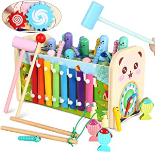 Wooden Pounding and Hammer Toy Early Educational Motor Skill Toy with Fishing Game Xylophone Moving Gears Clock Best Gift ...