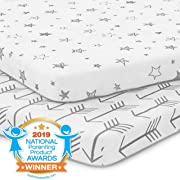 Pack n Play Playard Sheet Set - Portable Mini Crib Mattress Pad Sheets - Convertible Mattress Cover - Stretchy, Fitted Jersey Cotton Will Fit Any Playard - Ultra Soft Baby Safe Fabric for Girl or Boy