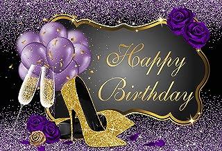 Mehofond Happy Birthday Party Dekoration Hintergründe für Erwachsene Frau Gold High Heels Champagner Lila Rose Ballons Fotografie Hintergrund Banner Foto Requisiten Studiobedarf 2,1 x 1,5 m
