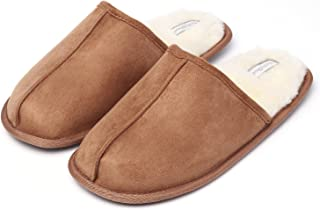 KushyShoo Mens Slippers, Scuff Fluff House Shoes, Slip-On Indoor Outdoor Slipper