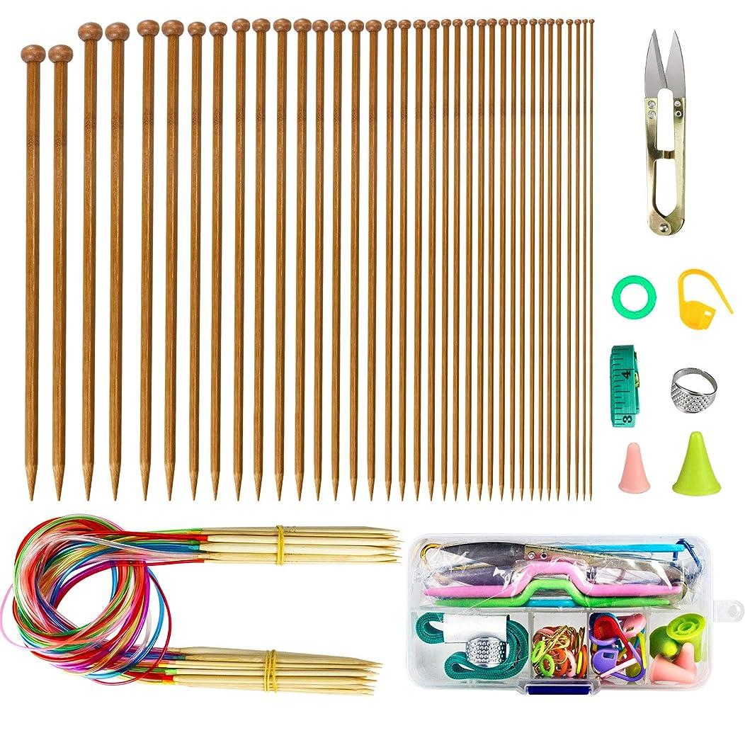 LINGSFIRE Knitting Needles Set, Weaving Tools Knitting Kits 18 Pairs 18 Sizes Bamboo Circular Knitting Needles Colored Tube 36 Pcs 18 Size Single Pointed Bamboo Knitting Needles 2.0 mm-10.0 mm (Set 1)