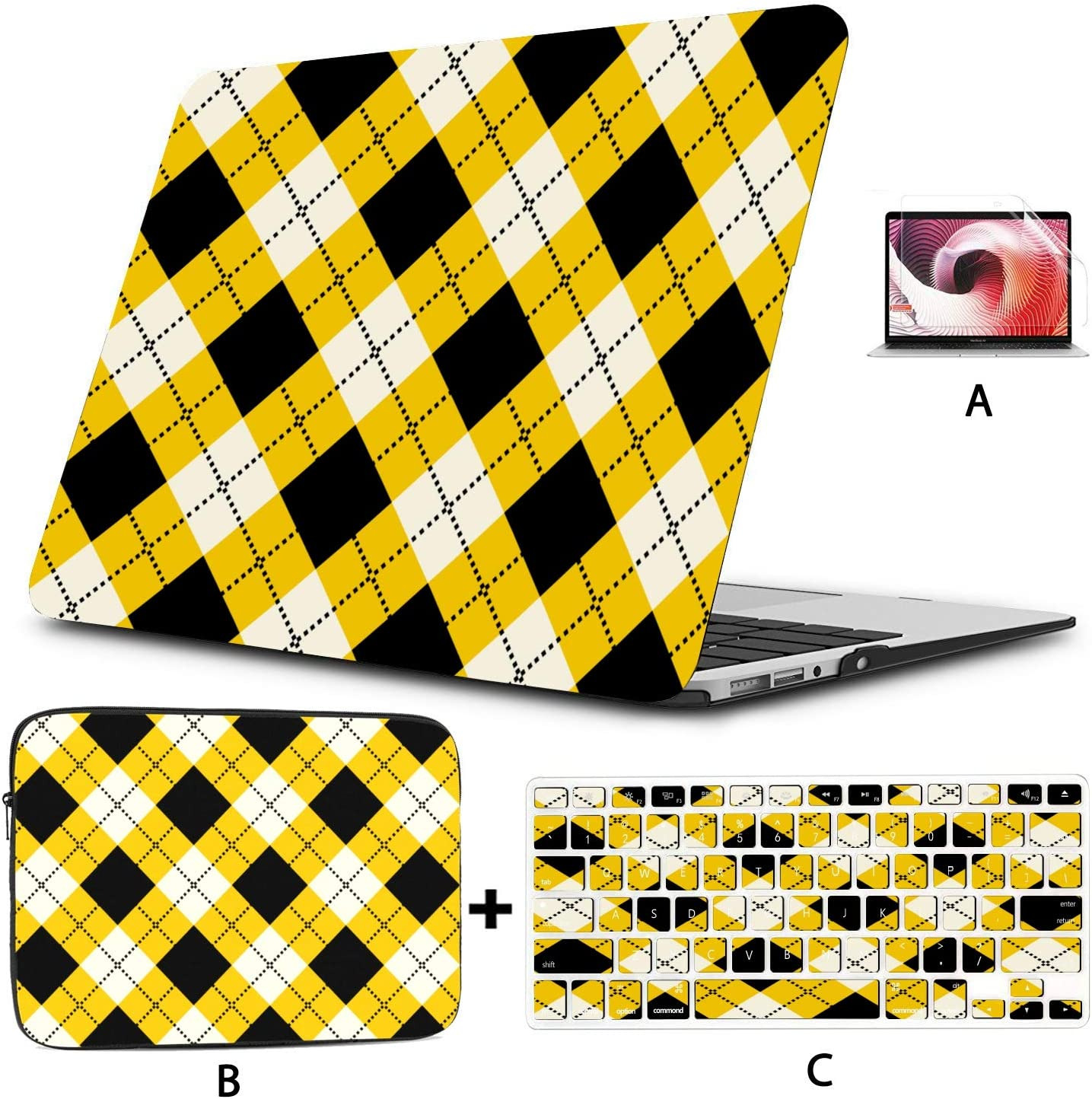 Hard Shell with Sleeve Max 57% OFF Bag for Cl Colourful Atlanta Mall MacBook Argyle Cases