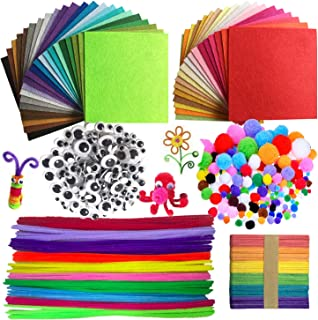 Wartoon Pipe Cleaners Crafts Set, Tuyaux Chenille et Pompoms avec Googly Eyes et bâtonnets Craft Assortiment de Couleurs F...