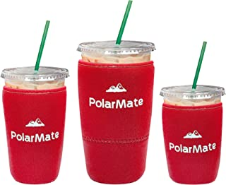 3 Pack Reusable Iced Coffee Sleeve | Insulator Cup Sleeve for Cold Drinks Beverages | Neoprene Cup Holder | Ideal for Starbucks, McDonalds, Dunkin Donuts & More (Red)