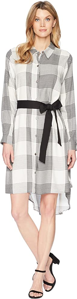 Vince Camuto Long Sleeve Oversized Plaid High-Low Belted Dress