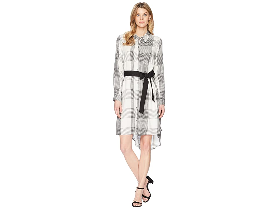 Vince Camuto Long Sleeve Oversized Plaid High-Low Belted Dress (Rich Black) Women