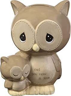 Precious Moments Owl You Need is Love Ceramic Piggy 183402 Bank, One Size, Multi