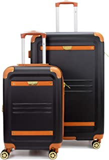 Vintage Expandable Hard Spinner Luggage 2 Piece Set (Black, Large + Carry-on)