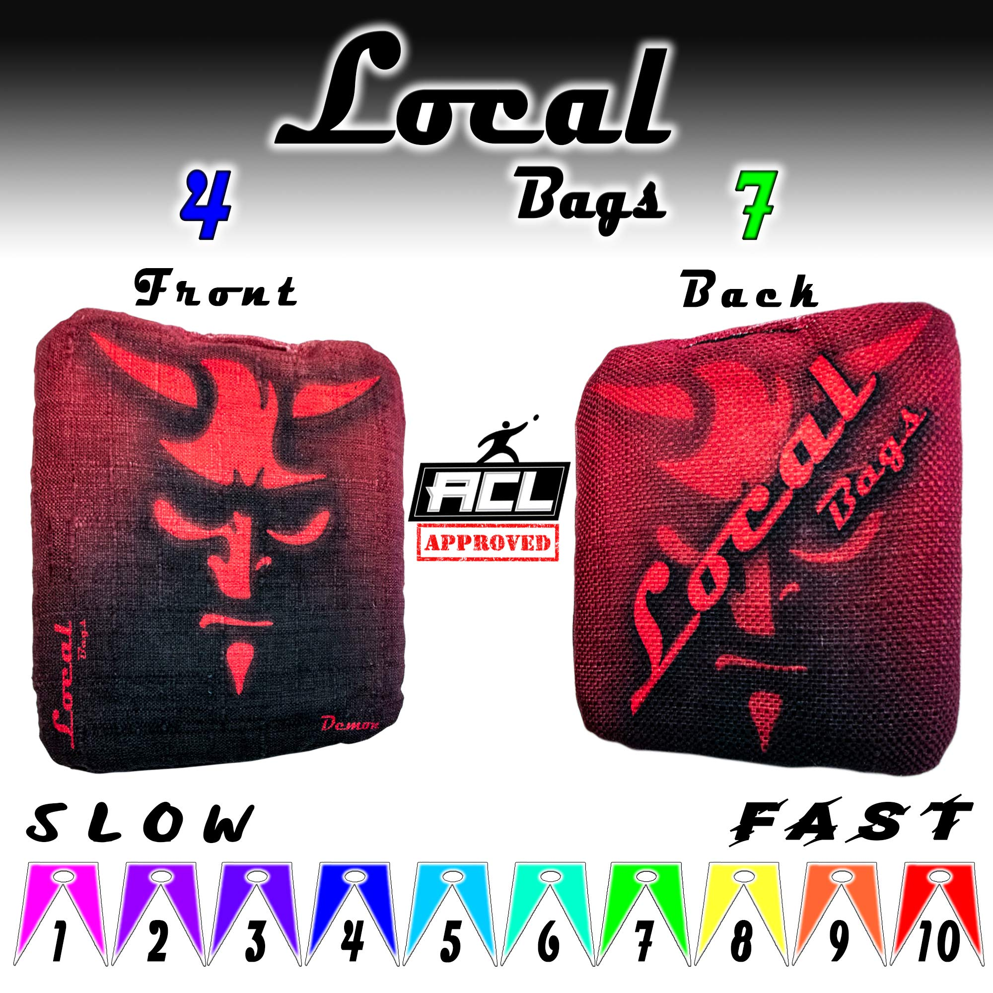 Local Bags Cornhole Outlaws Series Double Sided Set of 4 Bags- ACL Approved Resin Filled Slow Side//Go Side Made in USA