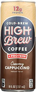 High Brew Cold Brew Coffee, Creamy Cappucino + Protein, 8 Ounce Can (12 Count)