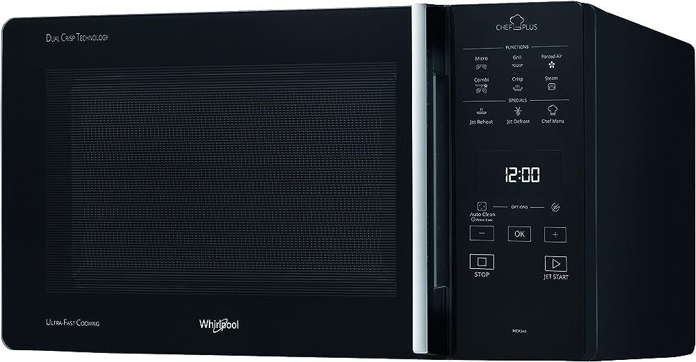 Whirlpool,forno a microonde, chef plus ,termoventilato combinato, con griglia alta, griglia bassa,25 litri, MCP 349 BL