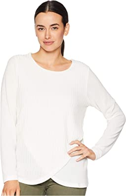 Ribbed Long Sleeve Crew w/ Overlapping Front Detail