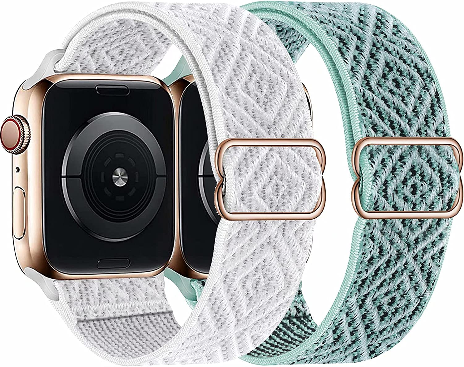 2-Pack ADWLOF Stretchy Solo Loop Strap Compatible with Apple Watch Bands 38mm 40mm 42mm 44mm,Diamond Sport Elastics Nylon Adjustable Stretch Braided for iWatch Series 6/5/4/3/2/1 SE Women Men