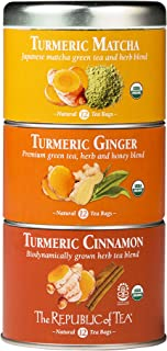 The Republic Of Tea, Organic Turmeric Stackable Tea Tin, 36 Tea Bags
