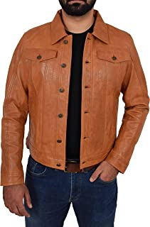 Mens Leather Trucker Jacket Slim Fit Authentic 501 Style Terry Tan