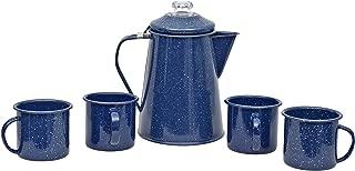 Granite Ware F0319DS-1 Casual Living 2QT Percolator, 4 12oz Mugs-Blue Coffee Percolator & Mug Set, 5 pc