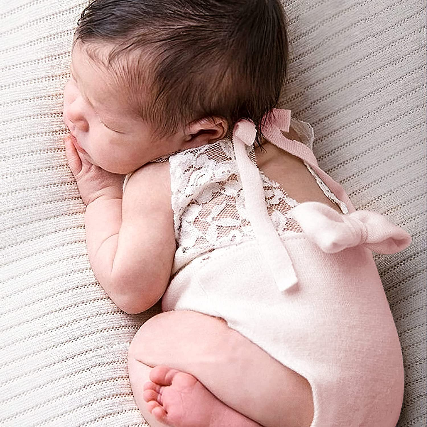 Newborn Baby Girls Photography Props Photo Shoot Outfits Lace Knitted Romper Pink