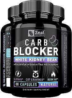 White Kidney Bean Carb Blocker + Forskolin Extract (500mg   80 Capsules) Keto Carb Blocker w. Forskolin Max Strength & Pure White Kidney Bean Extract for Keto Cheat Carb Intercept, Sugar Blocker