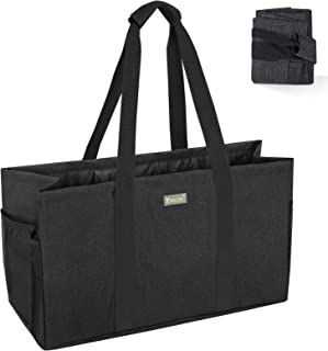 BALEINE Reusable Soft Utility Tote with Reinforced Handles, Eco Friendly Collapsible Foldable & Washable Grocery Storage B...