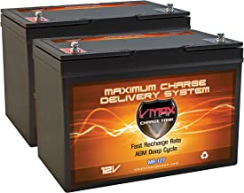 QTY2 VMAX MR127-100 12V 100AH AGM Deep Cycle Group 27 Batteries Compatible with 24 Volt 24V 80 Pound 80lb Thrust Trolling Motors