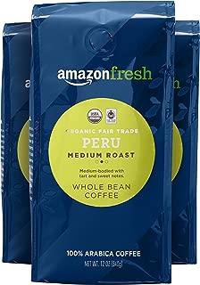 AmazonFresh Organic Fair Trade Peru Whole Bean Coffee, Medium Roast, 12 Ounce (Pack of 3)