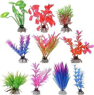 Cosmos 10 PCS Color Aquarium Fish Tank Decorative Plastic Plants, Artificial Water Plants, Random Colors