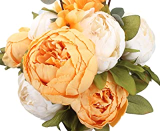 Duovlo Artificial Peony Silk Flowers Fake Flowers Vintage Wedding Home Decoration,Pack of 1 (New Orange)
