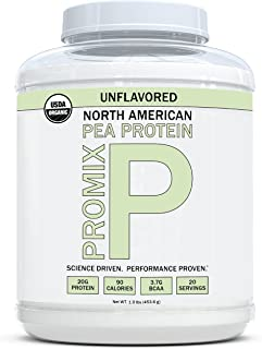 PROMIX Vegan Pea Protein Powder, Unflavored, 1lb   20g Protein, 90 Calories, 20 Servings   Organic, Sugar Free, Gluten Free, Non Dairy, Protein Shake