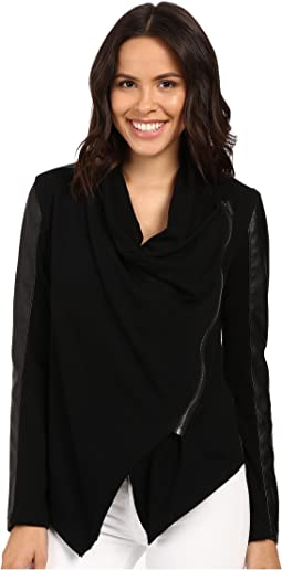 Black Vegan Leather Sleeved Jacket