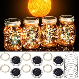 Cooo Solar Mason Jar Lights Outdoor 6 Pack Lids 10 LEDs Warm White, Solar Mason Jar Lights Outdoor, Solar Lights Outdoor, Solar Lanterns, Solar Hanging Lanterns for Outdoors-6 Hanger Included/No Jar