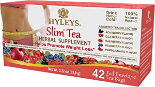 HYLEYS Tea 12 Pack - Hyleys Slim Tea 5 Flavor Assorted Tea - 42 Tea Bags (100% Natural, Sugar Free, Gluten Free and Non-GMO), 4.44 Ounce