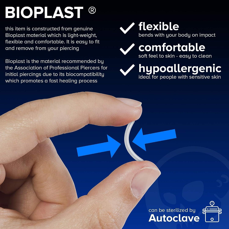 4pc 16g Labret Retainer Pushin Clear Plastic Studs Flexible Bioplast Mole Piercing Jewelry