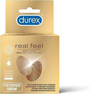 Durex Condom Real Feel Non Latex Condoms, 3 Count