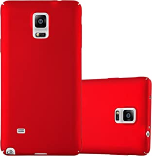 Cadorabo Case Works with Samsung Galaxy Note 4 in Metal RED – Shockproof and Scratch Resistent Plastic Hard Cover – Ultra Slim Protective Shell Bumper Back Skin