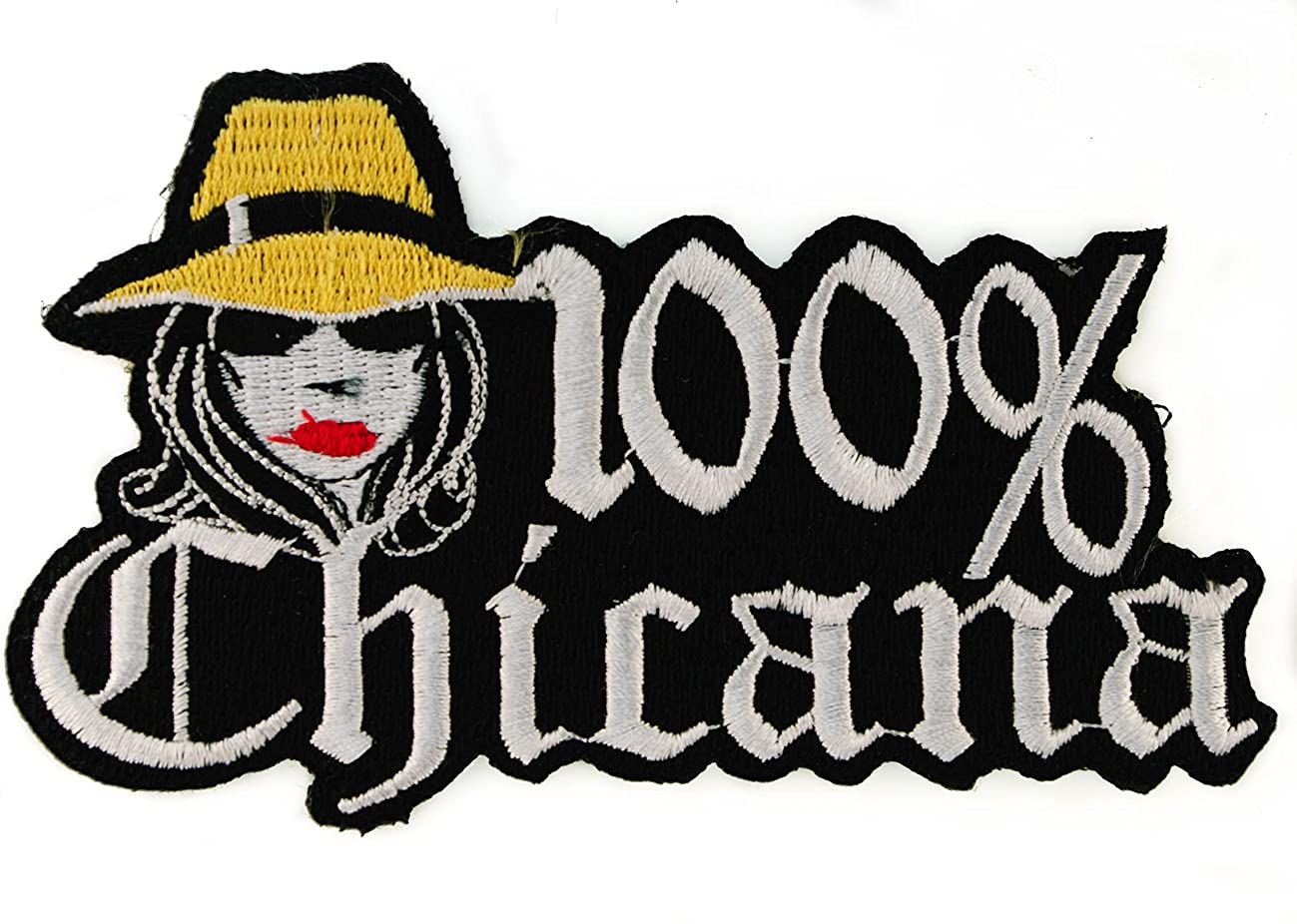 100% percent Chicana Iron Sew Iron on Embroidered Patch