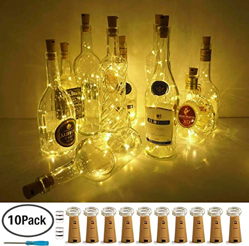 Wine Bottle Lights with Cork, LoveNite 10 Pack Battery Operated LED Cork Shape Silver Wire Colorful Fairy Mini String...
