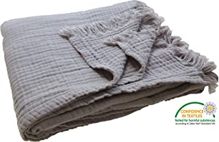 """KyraHome Pre-Washed Organic Muslin Throw Blanket for Adult and Kids, Plant Dyed Yarn, Breathable Super Soft 100% Cotton, Cozy, Warm, Lightweight Bed Blanket, All Season (50""""x60"""" Grey)"""
