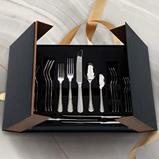 Real 18/10 Stainless Steel Flatware Set for 4 with Gift Box, 20 pieces, Elegant Beads Kitchen Utensils with Mirror Finish,...