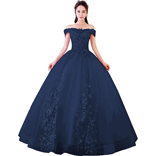 fbc82bf57 Okaybrial Women s Sweet 16 Quinceanera Dresses Blush Pink Off Shoulder Lace  Long Prom Ball Gowns Plus