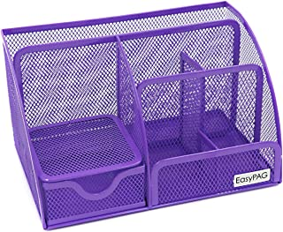 EasyPAG Mesh Desk Organizer Office Accessories Caddy 6 Compartments with Drawer,Purple
