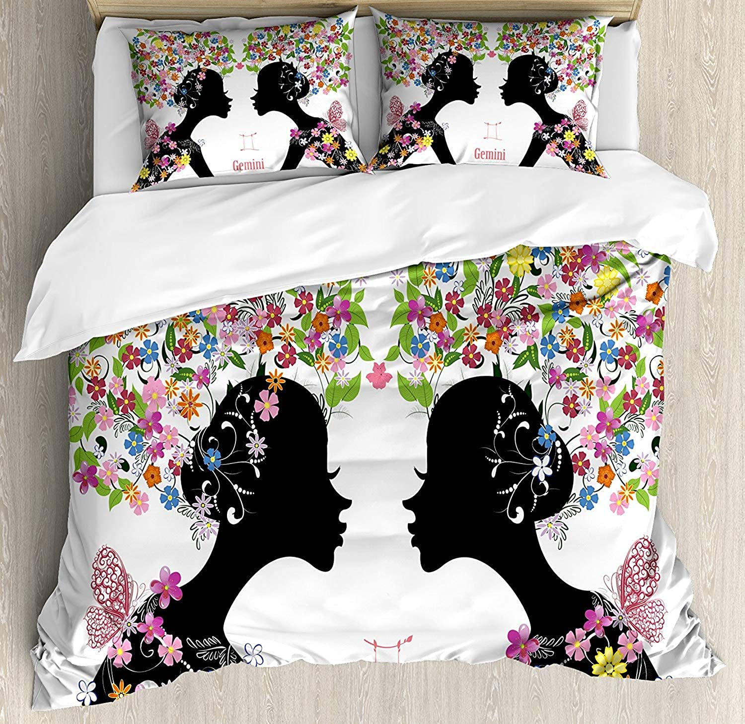 Zodiac Gemini Duvet Cover Set, Luxury Soft Hotel Quality 4 Piece Full Plush Microfiber Bedding Sets, Two Young Ladies with colorful Spring Blossoms and Butterflies Fashion Girls