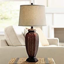Tropical Table Lamp Woven Wicker Pattern Beige Linen Drum Shade for Living Room Family Bedroom Bedside Nightstand - Regency Hill