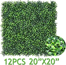 """Sunnyglade 12 Pieces 20""""x20"""" 32 Square Feet Artificial Boxwood Panels Topiary Hedge Plant, Privacy Hedge Screen UV Protected Suitable for Outdoor, Indoor, Garden, Fence, Backyard and Décor (Style-1)"""