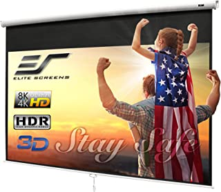 "Elite Screens Manual B, 100"" 16:9, Manual Pull Down Projector Screen 4K / 3D Ready with Slow Retract Mechanism, 2 Year War..."