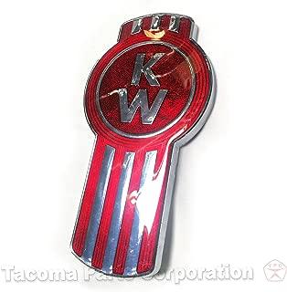 Kenworth Hood Logo Emblem Badge L53-1002-10 Chrome and Red Metal Flake