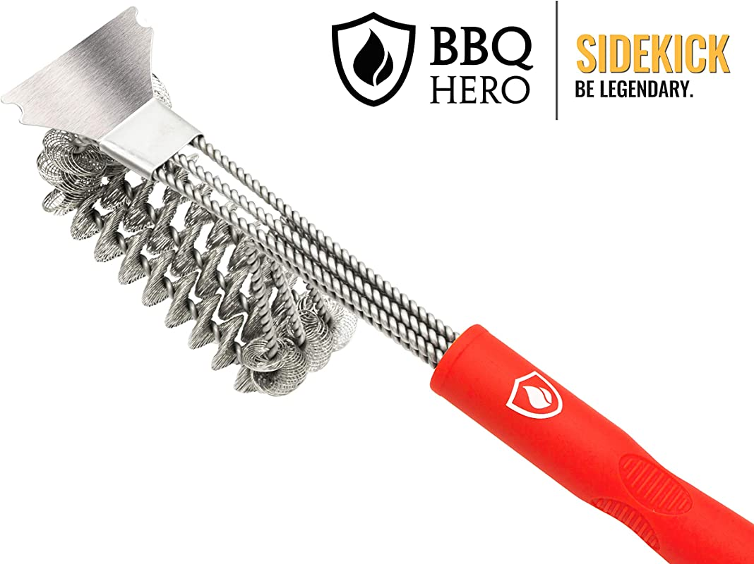 BBQ Hero Sidekick Premium Stainless Steel Bristle Free Grill Brush Works On Almost All Grill And Barbecue Surfaces