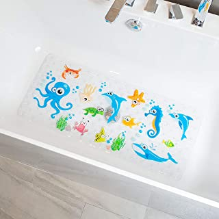 BeeHomee Cartoon Non Slip Bathtub Mat for Kids - 35x16 Inch XL Large Size Anti Slip Shower Mats for for Toddlers Children ...