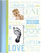 Little Blossoms by Pearhead Vintage Wordplay Baby Five Year Memory Book with an Included Clean-Touch Ink Pad to Create Baby's Handprint or Footprint, Blue